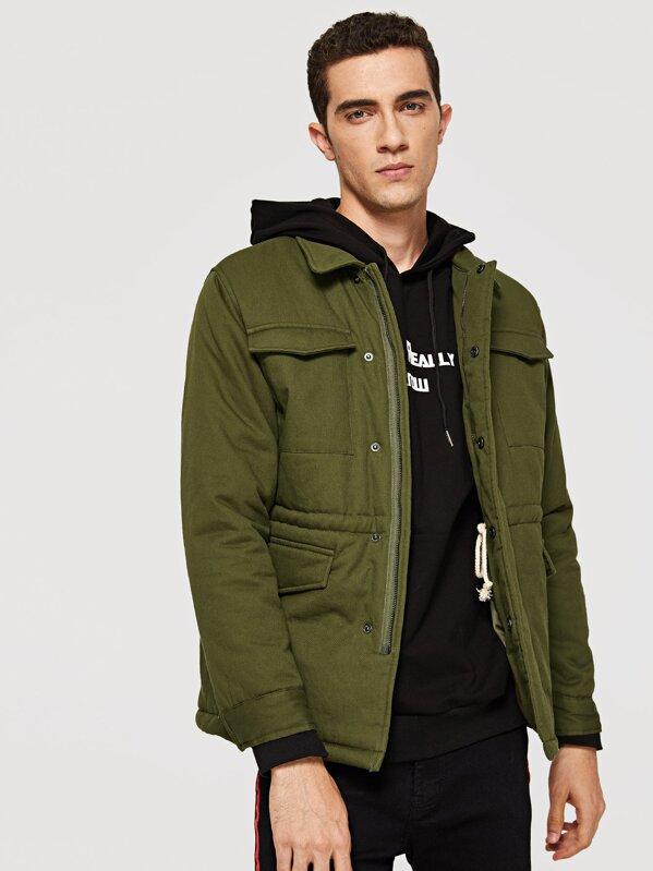 Men Zip and Button Up Flap Pocket Jacket, Lucas