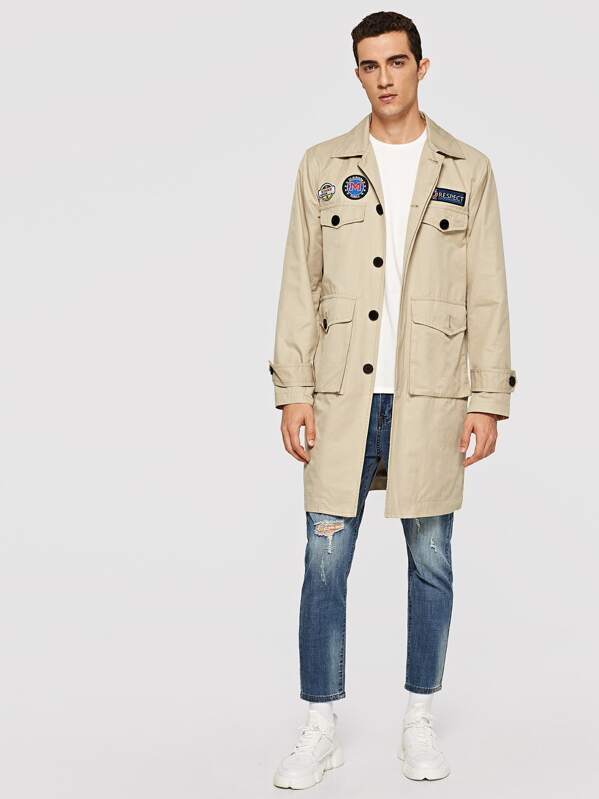 Men Flap Pocket Patched Detail Coat