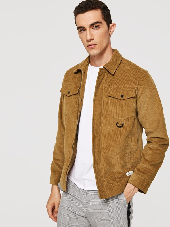 Men Button Up Flap Pocket Corduroy Coat