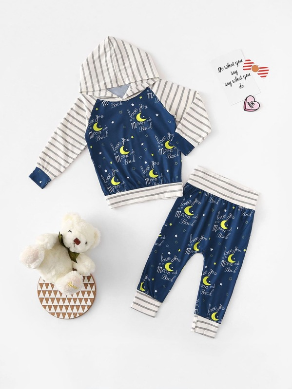 Toddler Boys Letter Print Contrast Raglan Sleeve Top With Pants, null