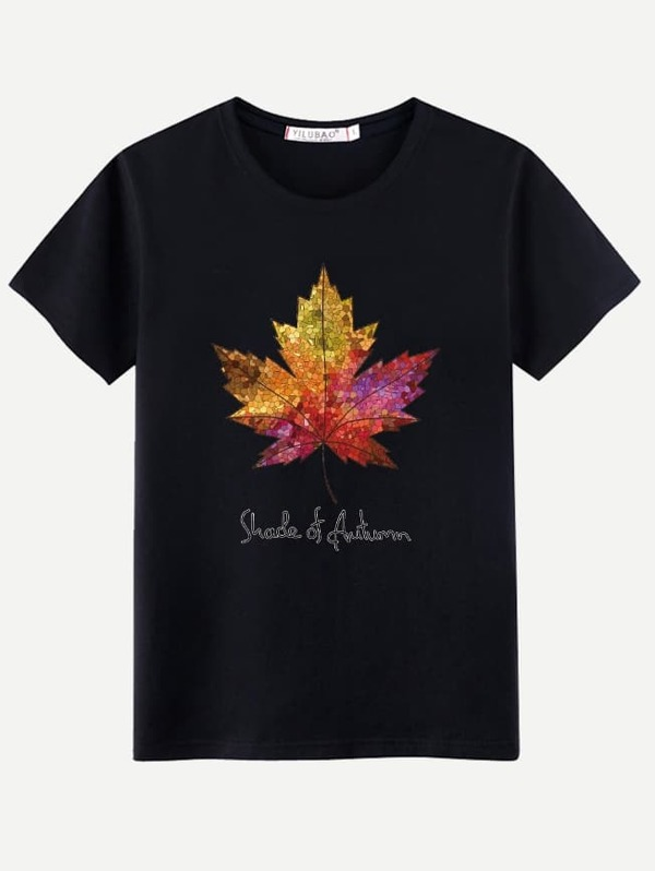 Men Maple Leaf And Letter Print Tee