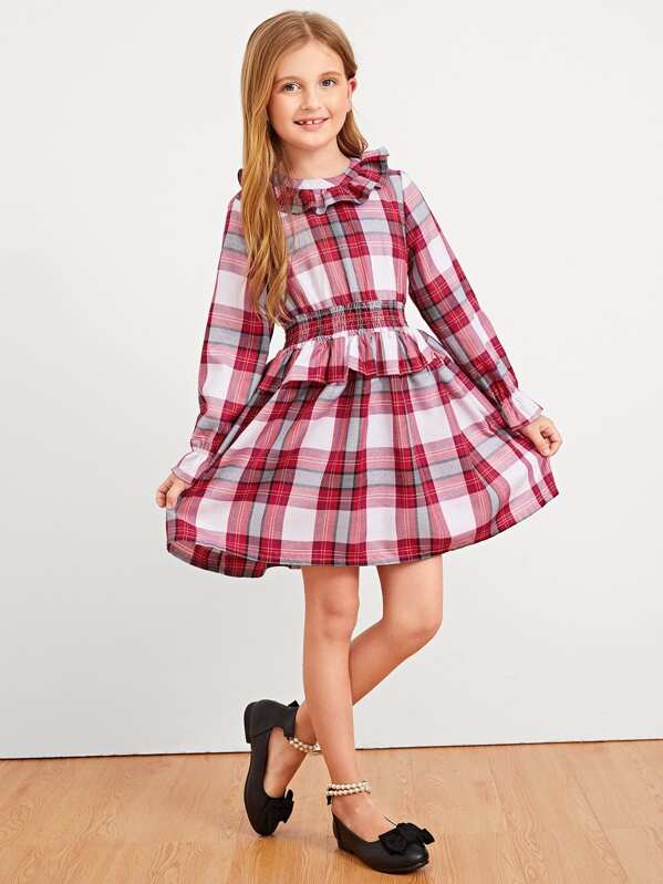 Girls Ruffle Trim Zip Back Plaid Dress, Dariab