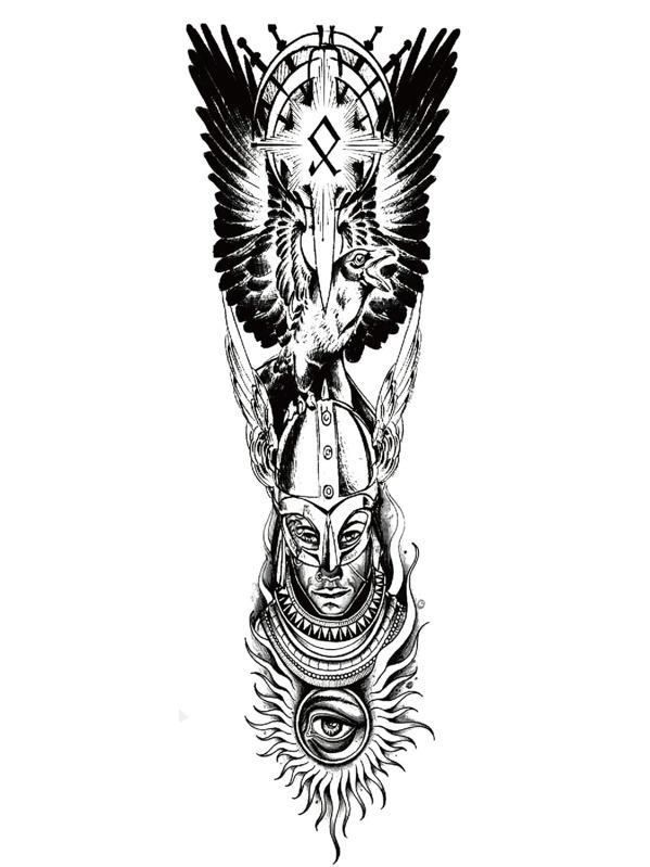 Wing & Figure Tattoo Sticker