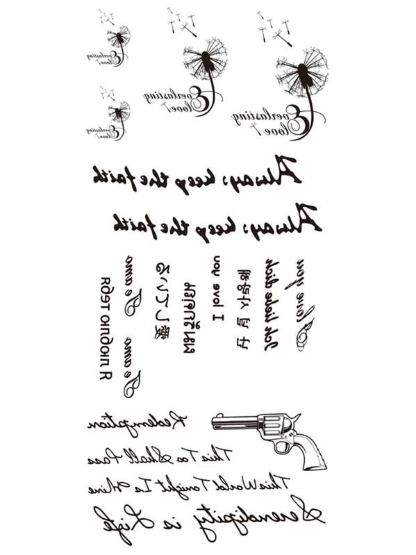 Gun & Letter Tattoo Sticker, null
