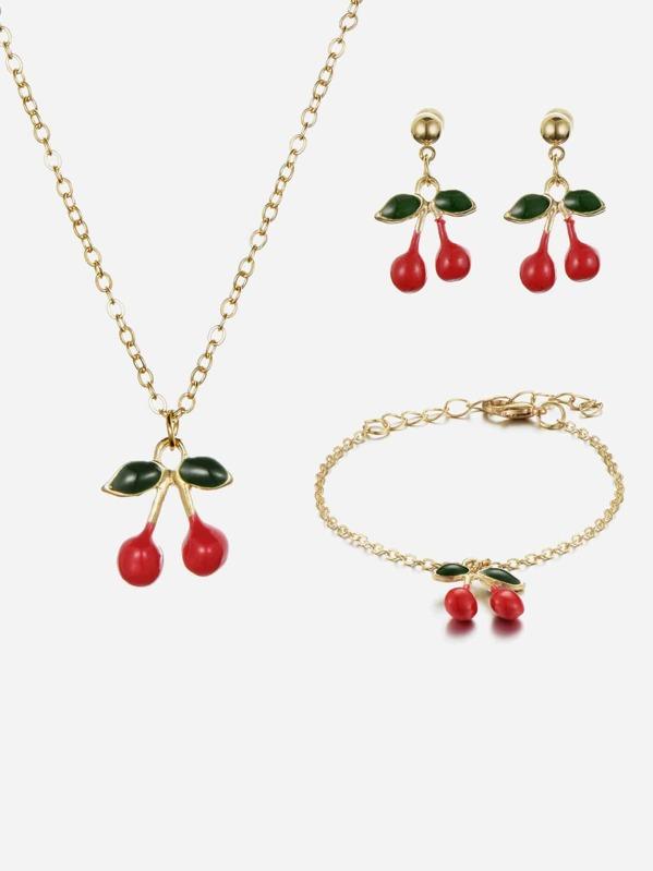 Girls Cherry Necklace & Earrings & Bracelet, null