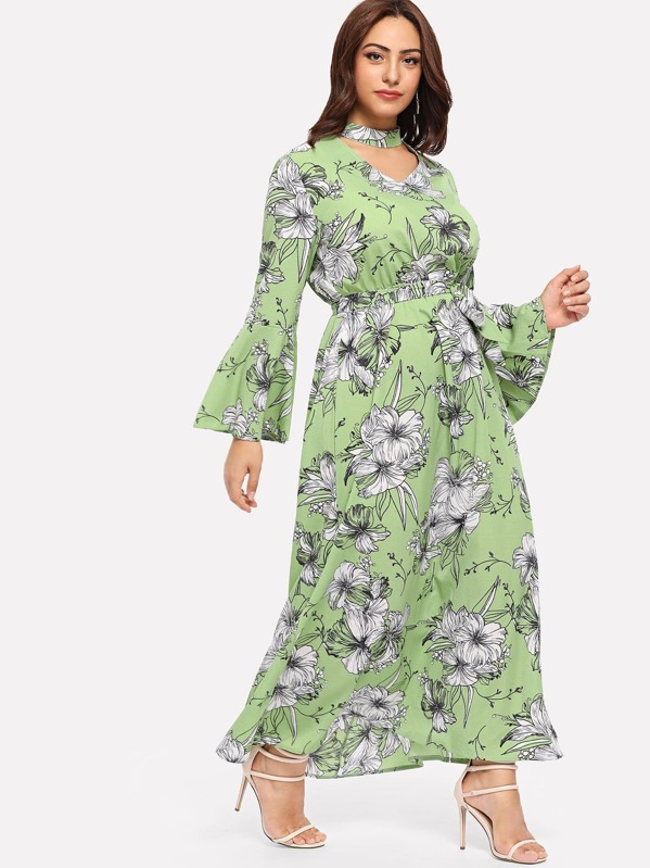 Plus Floral Print Cut Out Neck Dress