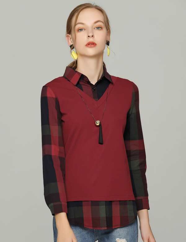 2 In 1 Plaid Blouse