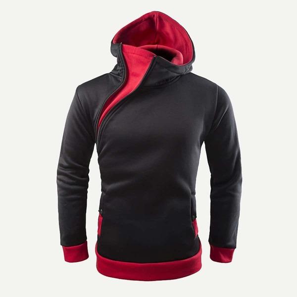 Men Oblique Zipper Hooded Sweatshirt, Multicolor