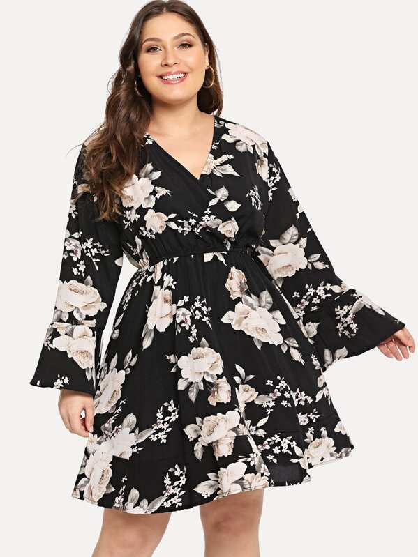 Plus Surplice Allover Floral Print Dress