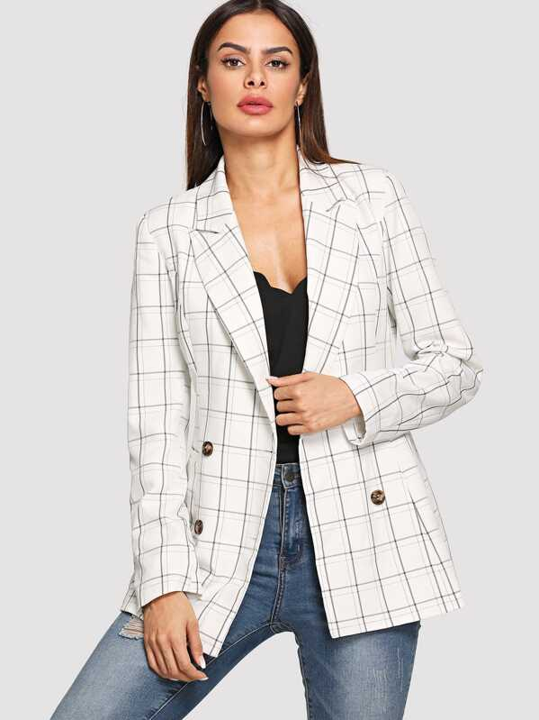 Double Breasted Plaid Print Blazer, Andy
