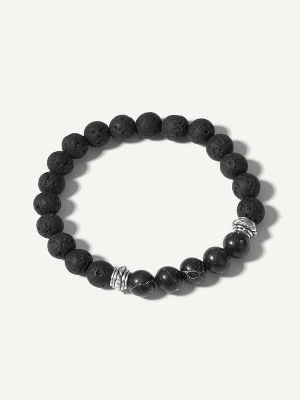 Men Textured Beaded Bracelet, null
