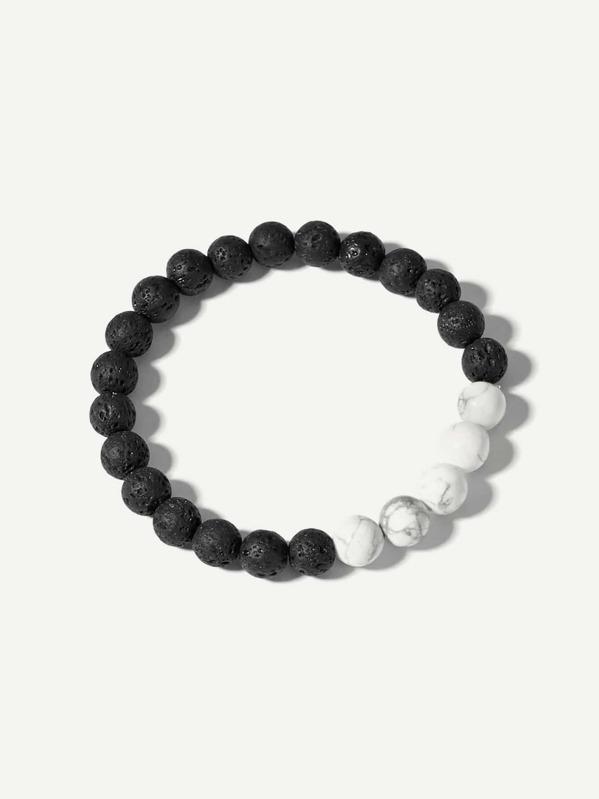 Men Two Tone Beaded Bracelet, null