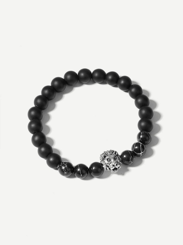 Men Lion Detail Beaded Bracelet, null