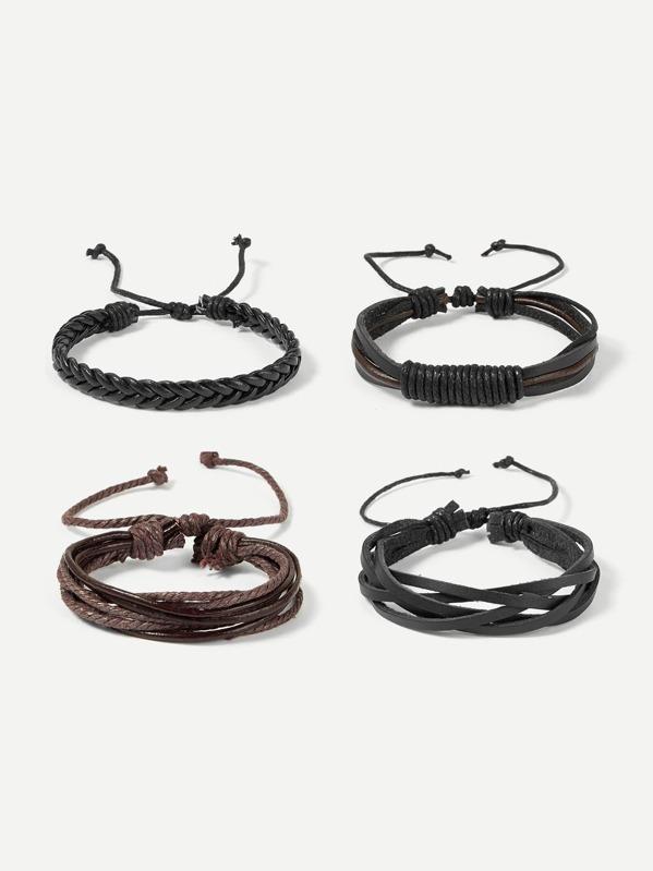 Men Layered Plaid & Beaded Bracelet Set 4pcs, null