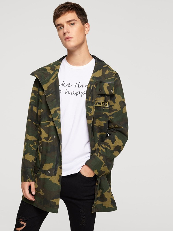 Men Zipper Up Camo Print Drawstring Hoodie Coat