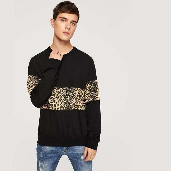Men Crew Neck Leopard Print Pullover, Multicolor