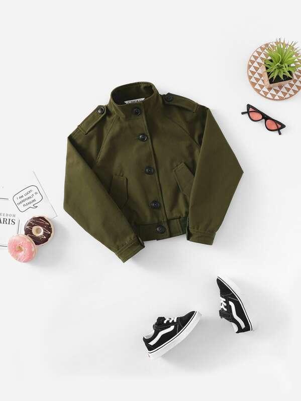 Girls Button Up Raglan Sleeve Jacket