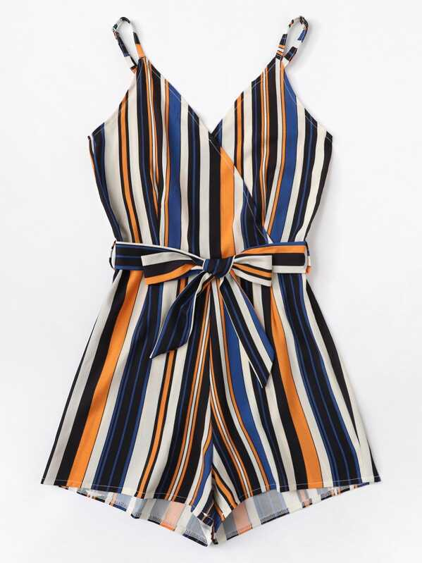 Plus Striped Belted Cami Jumpsuit