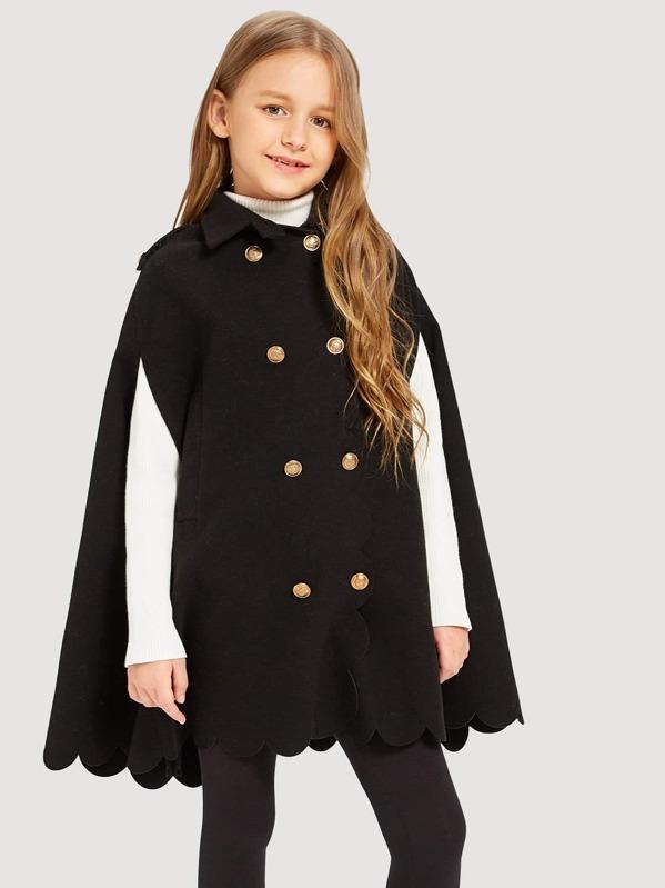 Girls Scallop Hem Button Up Collar Jacket, Sashab