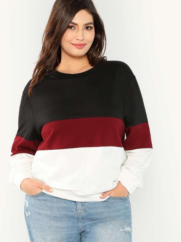 Plus Drop Shoulder Cut and Sew Sweatshirt, Elisa Krug