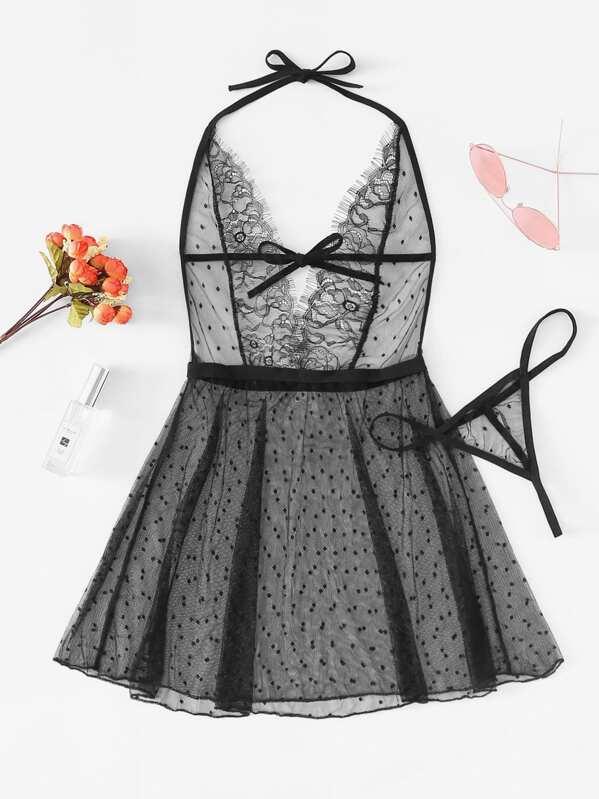 Deep-V Eyelash Lace Dress With Thong