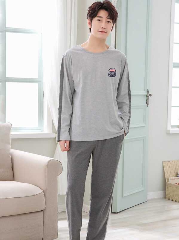 Men Patched Contrast Side Pajama Set