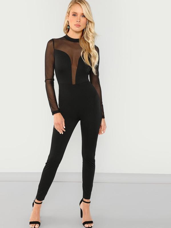 Mesh Contrast Skinny Jumpsuit, Allie Leggett