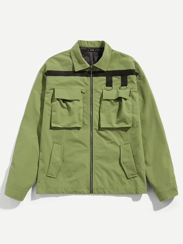Men Zipper & Pocket Front Collar Neck Jacket