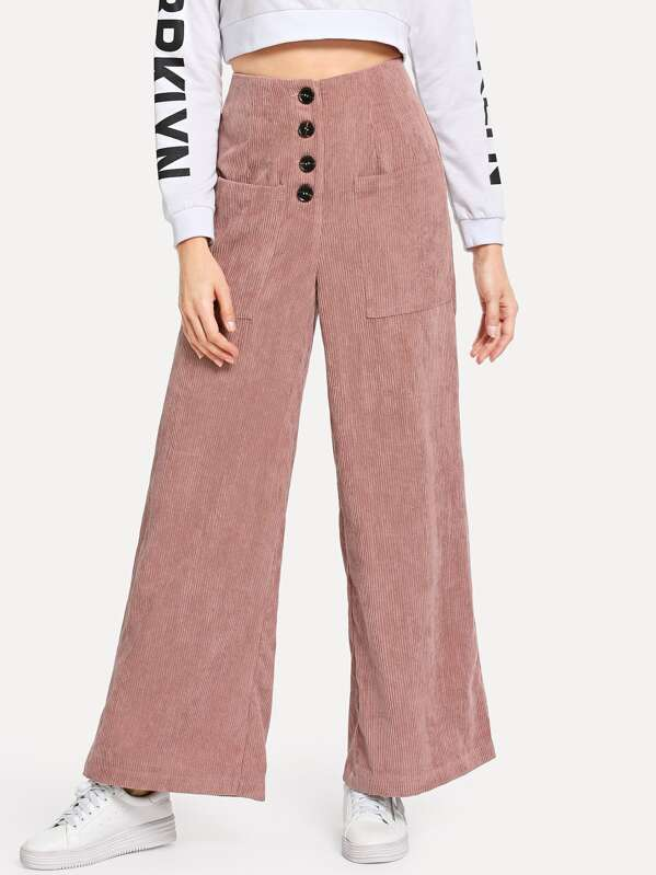 Button Fly Pocket Front Corduroy Pants, Masha
