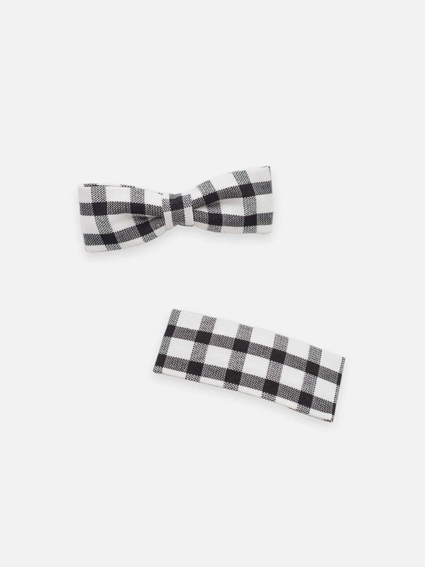 Girls Gingham Hair Clip 2pcs, null