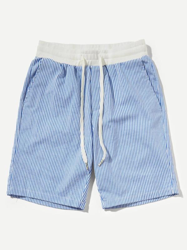 Men Contrast Drawstring Waist Striped Shorts