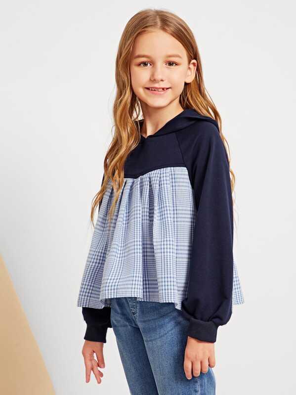 Girls Contrast Plaid Print Hoodie Sweatshirt, Sashab