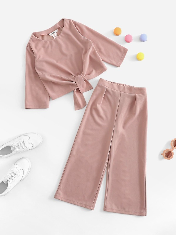 Girls Knot Front Top & Wide Leg Pants Set, null