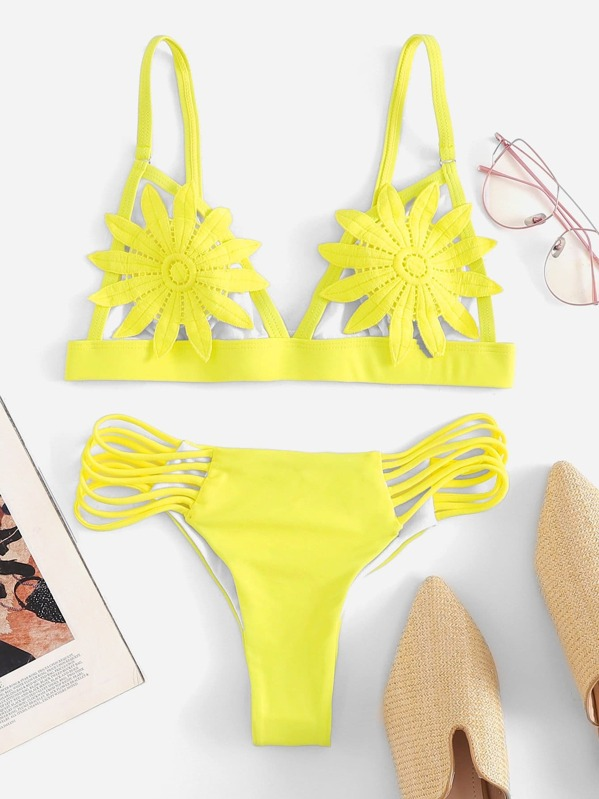 Neon Yellow Flower Applique Top With Ladder Cut-out Bikini