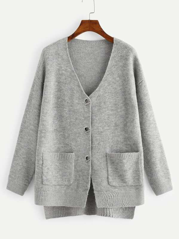 Pocket Front High Low Sweater Coat