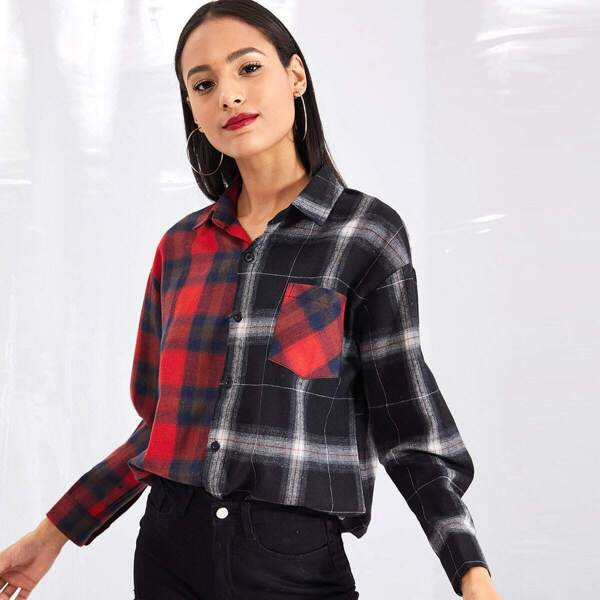 Pocket Patched Spliced Tartan Shirt