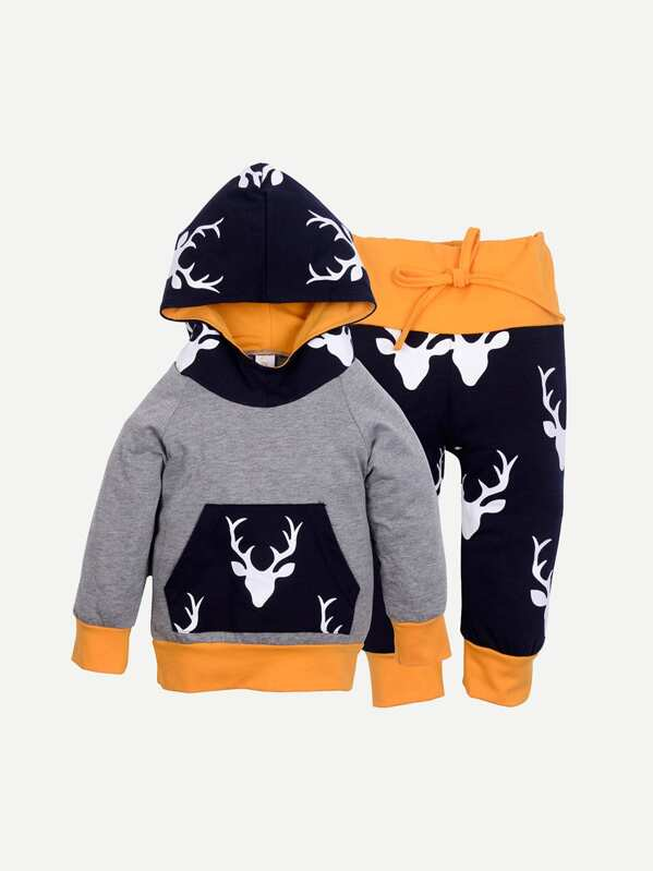 Toddler Boys Animal Print Hooded Top With Pants, null
