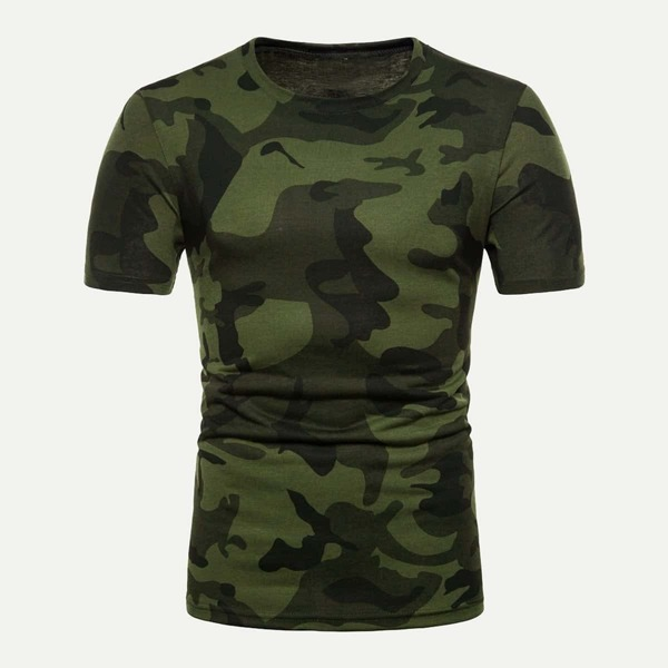 Men Camo Print T-shirt, Multicolor