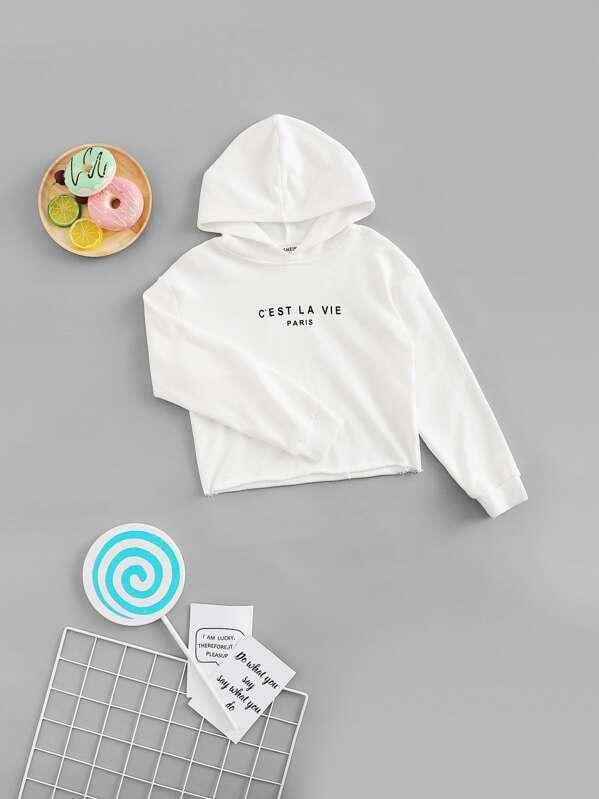 Girls Letter Print Hoodie Sweatshirt