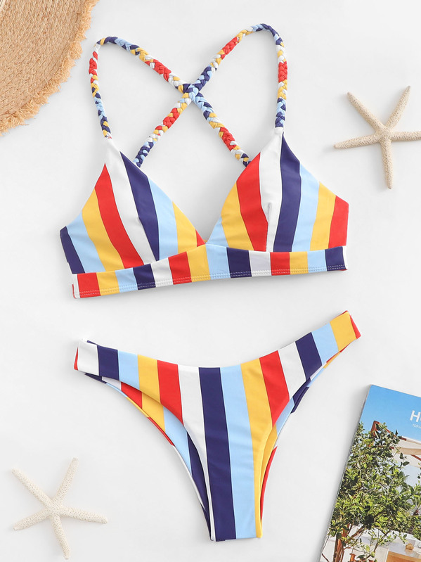 Braided Strap Top With Striped Cheeky Bikini Set