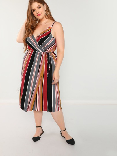 Striped Wrap Front Sleeveless Dress