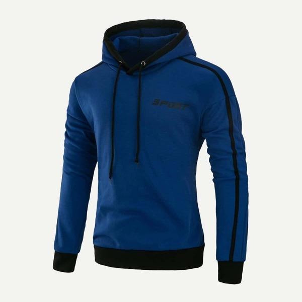 Men Letter Print Hooded Sweatshirt, Blue