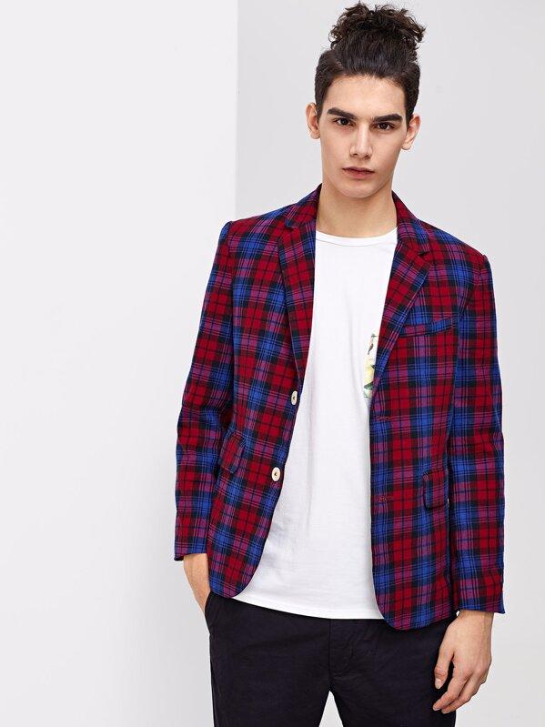 Men Button & Pocket Front Notched Neck Plaid Blazer, Adam T