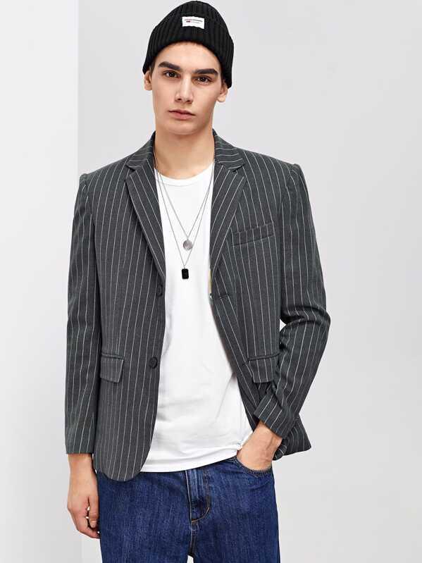 Men Pocket & Button Up Notched Neck Striped Blazer, Adam T