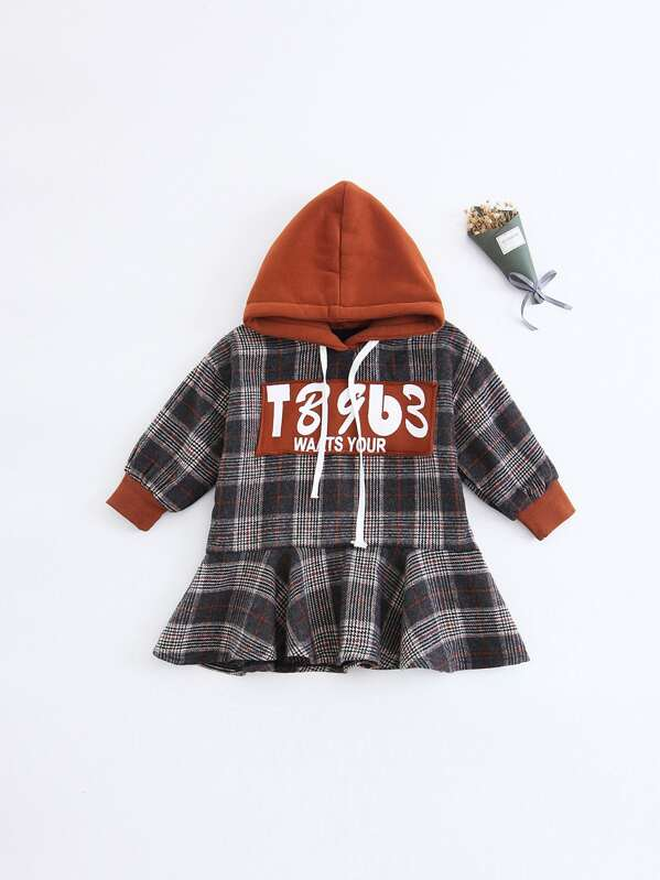 Girls Patched Detail Ruffle Hem Plaid Hoodie