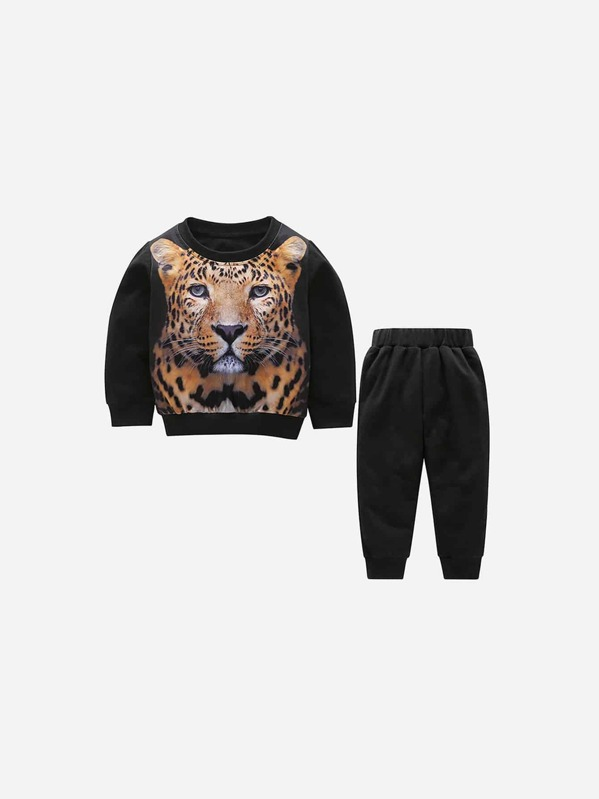Toddler Boys Tiger Print Top With Pants, null