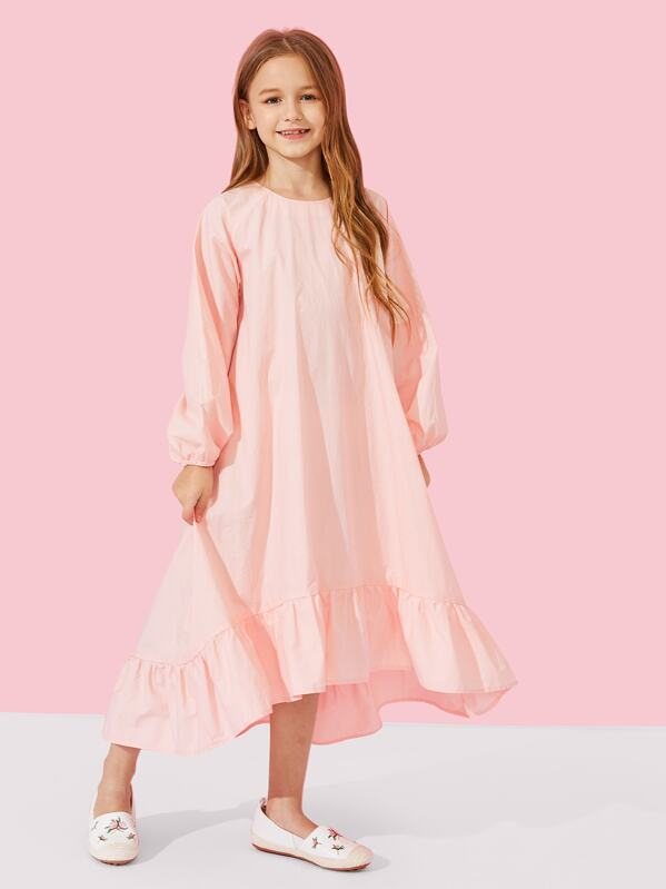 Girls Zip Back Ruffle Hem Dress, Sashab