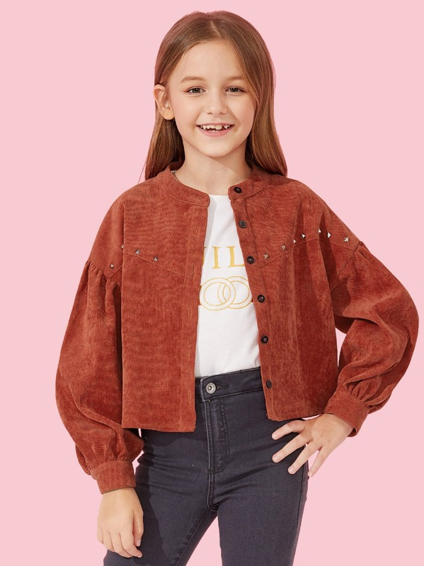 Girls Button Up Beaded Detail Jacket, Sashab