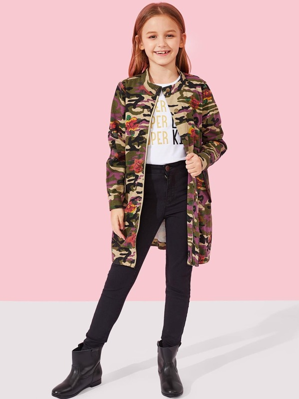 Girls Button Up Camo and Floral Print Jacket, Sashab
