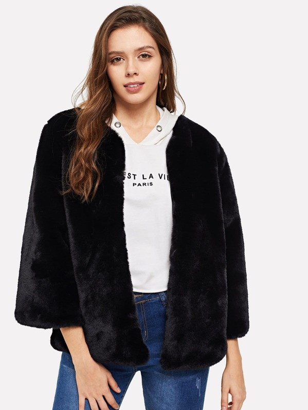 Open Front Solid Faux Fur Coat, Samilly K